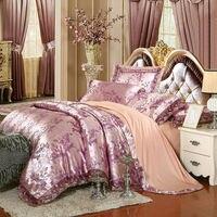 European Style Leaves Pattern Pale Mauve Duvet Cover Set Lace Border Silk Cotton Jacquard Queen King