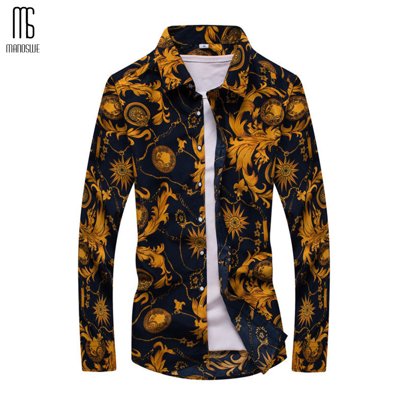 Floral Print Men Shirt Slim Long Sleeve Tops Fashionable Casual Clothing Soft Comfortable 5XL Street Wear XXXXXL Oversize 2019
