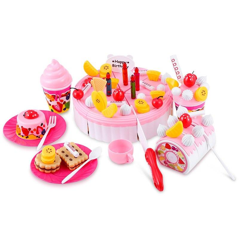 73Pcs Birthday Cake Toy DIY Fruit Pretend Cutting Birthday Cake Play Toys Set for Children Kid Christmas Gift