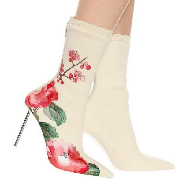 Moraima Snc Woman Fashion High Heel Ankle Boots Pointed Toe Stretch Fabric Flower Embroidery Thin Heels BootsMoraima Snc Woman Fashion High Heel Ankle Boots Pointed Toe Stretch Fabric Flower Embroidery Thin Heels Boots