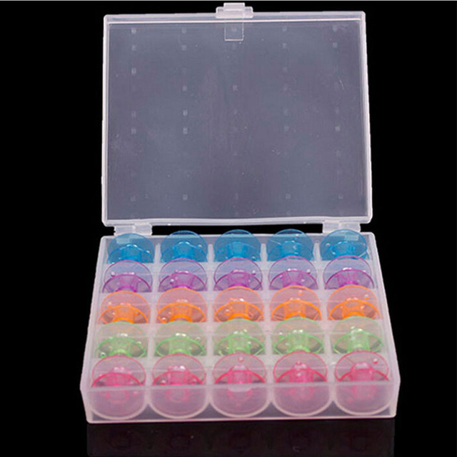 Plastic Bobbin Box With Colorful 25 Bobbins for Sewing Machine Spools Storage Case Sewing Machine Tools