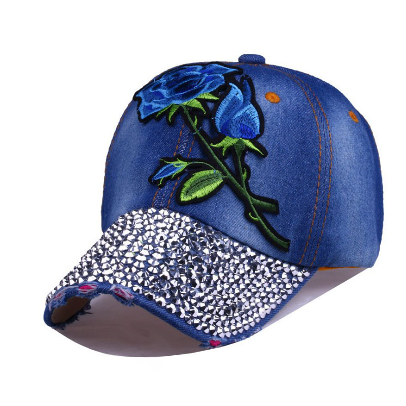 91e597e3cff 2017 New Women s Baseball Caps Embroidered Blue Rose Hat Floral Rivet Cap  Denim Hip Hop Cap Casquette Snapback Adjustable Hats -in Baseball Caps from  ...