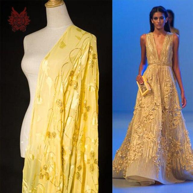 6c8cfed6d Designer amarelo beading bordado 100% seda tecido de paetês floral  burnt-out SP2822 viscose