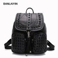 Women Sheepskin Rivet Backpack Genuine Leather Black Shoulder School Bags For Teenagers Girls Female Casual Travel