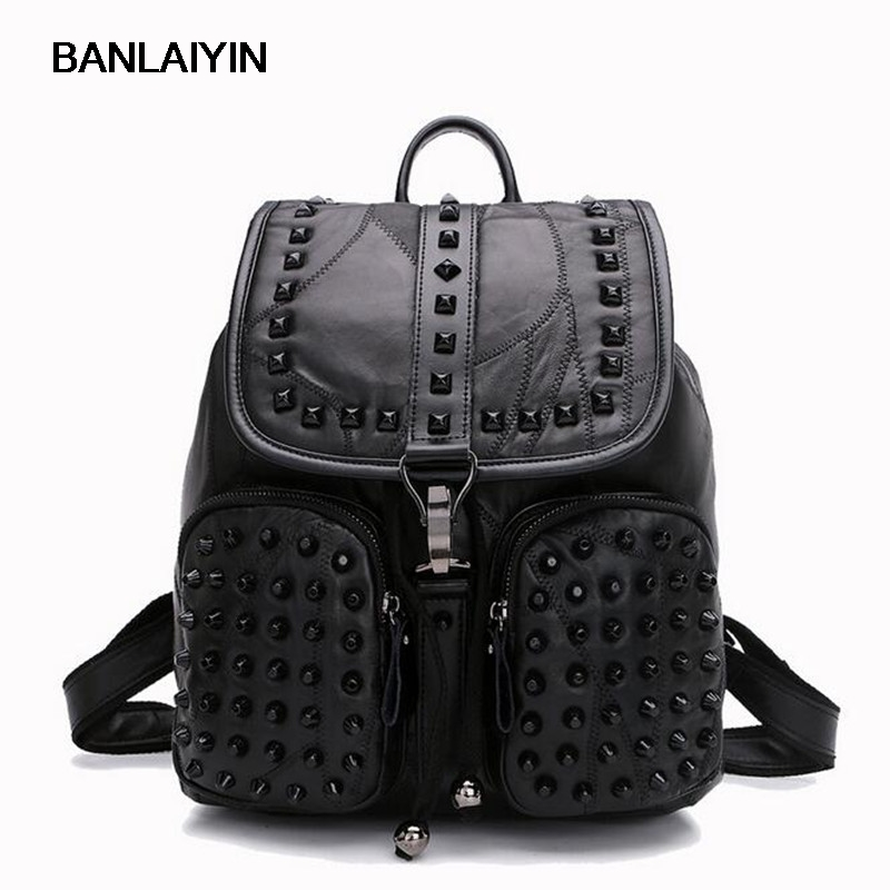 Women Sheepskin Rivet Backpack Genuine Leather Black Shoulder School Bags For Teenagers Girls Female Casual Travel Bags Pack hot sale women s backpack the oil wax of cowhide leather backpack women casual gentlewoman small bags genuine leather school bag