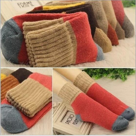 High quality winter vintage thicken warm rabbit wool women socks female fashion patchwork retro thermal cotton socks 10pairs/lot