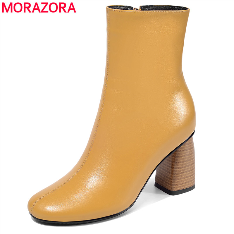MORAZORA 2020 new arrival women ankle boots genuine leather high heels shoes round toe zip simple autumn winter boots female