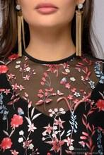 Sexy Women Floral Embroidery knee-length Dress Sheer Mesh Summer Boho A-line Dress See-through Black Dress 2018 Vestidos
