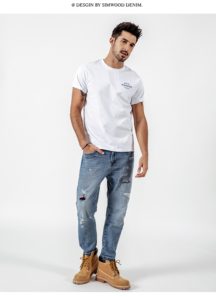 HTB1s 3sbiHrK1Rjy0Flq6AsaFXay - SIMWOOD Casual T-Shirts Men Letter Printed Fashion Tops Male Slim Fit Plus Size Brand Clothing Summer Camisetas 190074