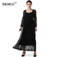 New Dress Women Clothing Autumn Elegant Square Collar Long Lantern Sleeve Lace Vintage Lace Chiffon Net yarn OL Dresses