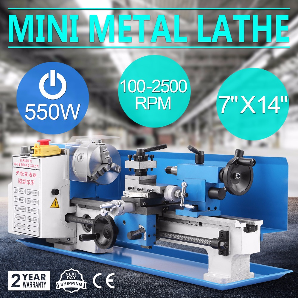 550W Precision Mini Metal Lathe Metalworking Variable Speed Tooling Infinite