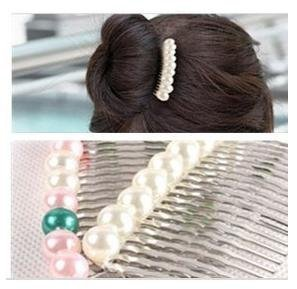fashion jewelry Single row Pearl Hair Combs E6173