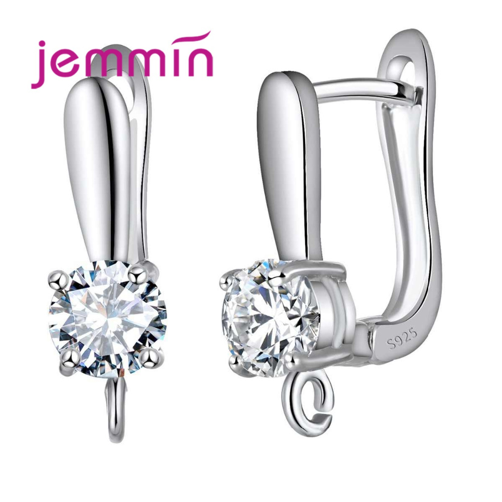 High Quality 925 Sterling Silver Hoop Earrings Findings U Shaped Crystal Party Earring Jewelry Accessories For Women in Earrings from Jewelry Accessories