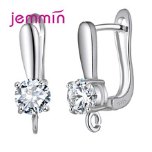 Jemmin High Quality 925 Sterling Silver Hoop Earrings Findings U-Shaped Crystal Party Earring Jewelry Accessories For Women