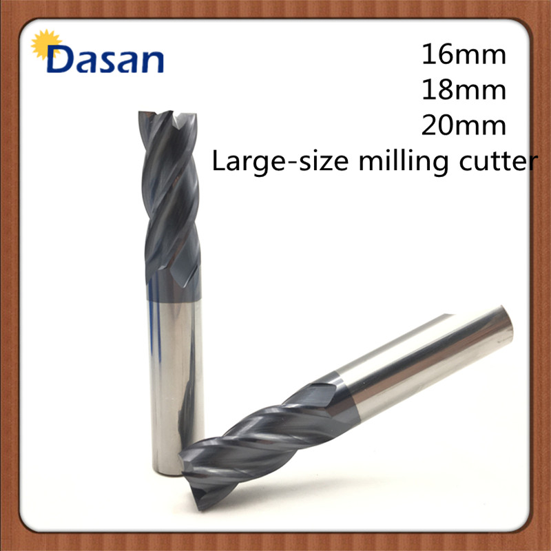 HRC50 4F-D16x100L endmill 16mm 18mm 20mm Large diameter overall coating alloy tungsten steel end mill Lengthen millling knife