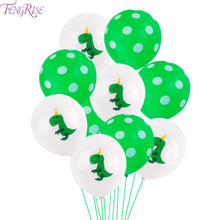 hot deal buy fengrise dinosaur party baloons birthday party decorations kids green dinosaur balloon confetti ballons dinosaur decoration