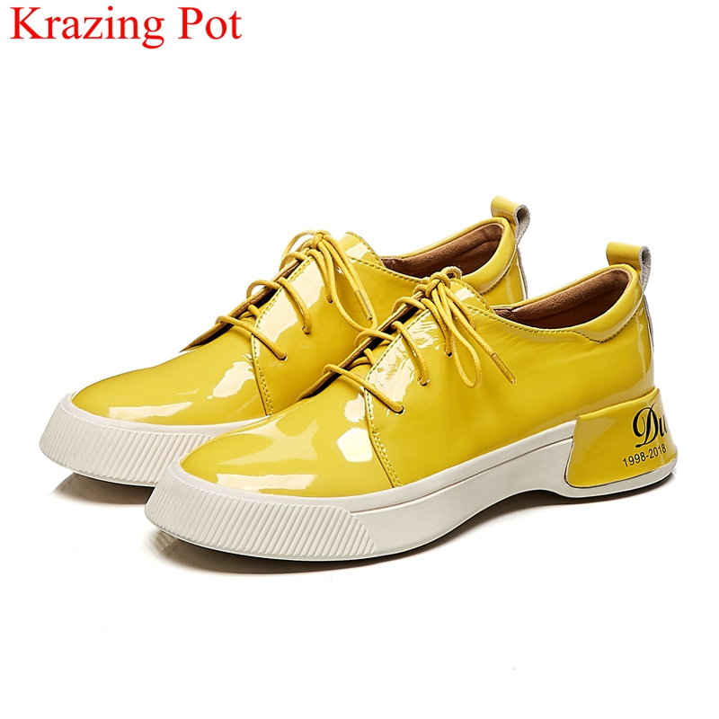 superstar patent leather lace up med heels casual shoes sneaker concise platform solid party spring women