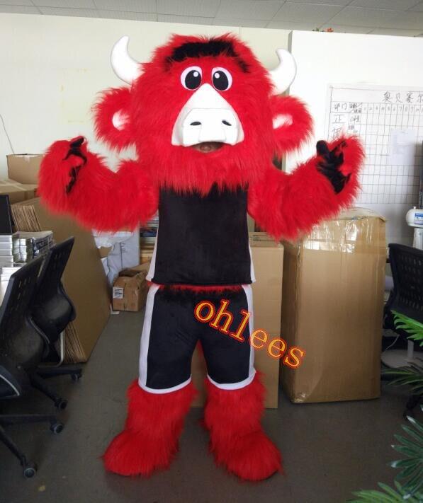 Ohlees sport Benny Le Bull Costume De Mascotte pour Halloween Fête de noël Costume Animal de Bande Dessinée Costume head école équipe
