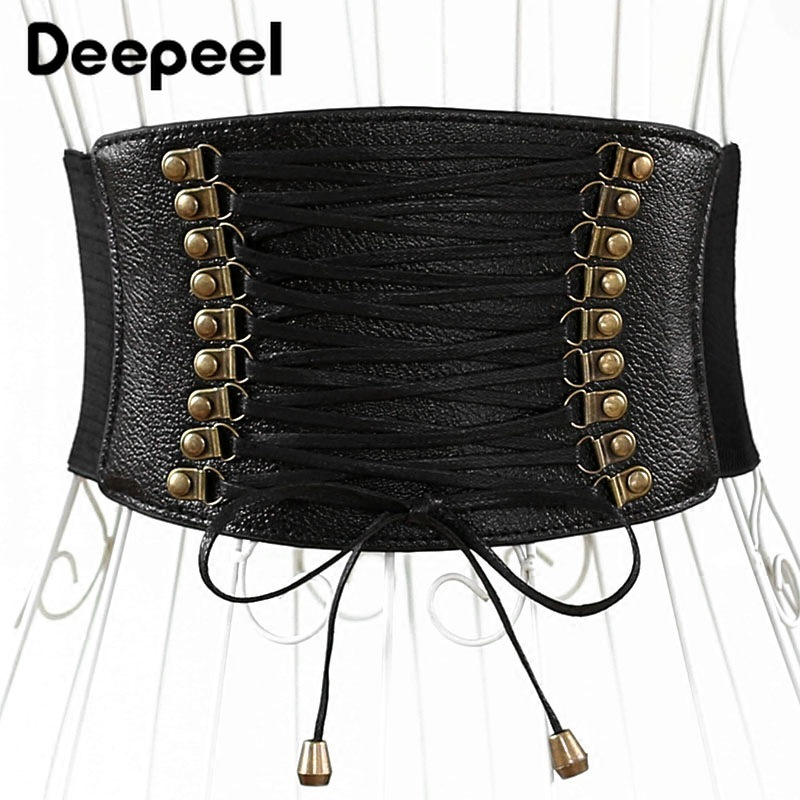 Deepeel 1pc Fashion Twotwinstyle Elastic Stretch Cummerbunds Women Wide Belt Leather Crafts Decorative Skirt Accessories CB008
