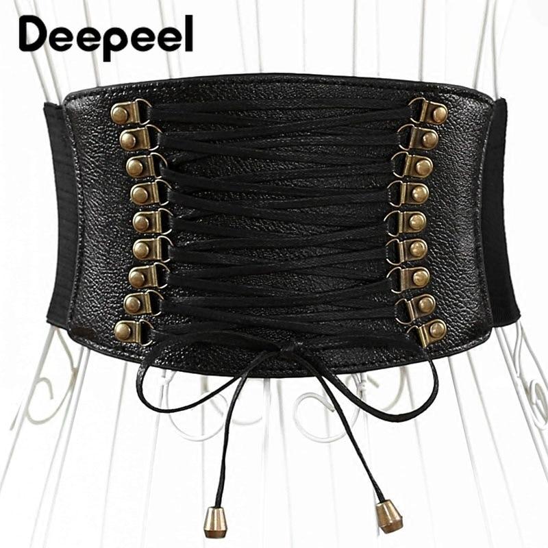 Deepeel 1pc Fashion Twotwinstyle Elastic Stretch Cummerbunds Women Wide Belt Leather Crafts Decorative Skirt Accessories CB008