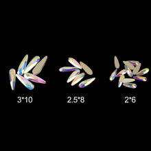 Shiny Shaped Crystal Clear Nail Rhinestone Raindrop 2x6/2.5x8/3x10mm Top Quality Glass Rhinestones For Nails Art Decorations