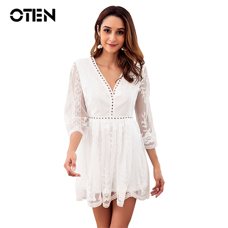 OTEN <font><b>Women</b></font> <font><b>fashion</b></font> clothing <font><b>2018</b></font> 3/4 Sleeve <font><b>Sexy</b></font> V Neck <font><b>Backless</b></font> Embroidery <font><b>White</b></font> Party Elegant See Through Mini <font><b>dress</b></font> Short <font><b>New</b></font> image