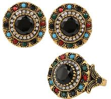 Vintage Luxury Green Black Stone Earring Ring Jewelry Set For Women India Jewelry Sets Plated Ancient Bronze Mosa Rhinestone