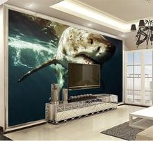 цена на 3D Wall Paper Home Decor Custom Ferocious sea shark 3d animal wallpaper HD digital print wallpaper