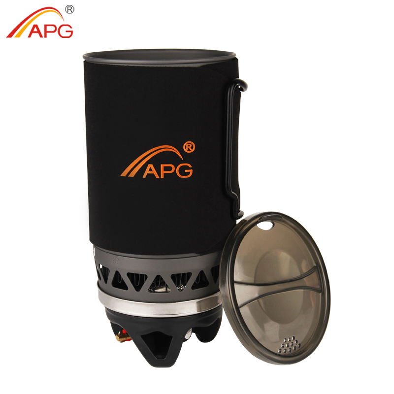 APG Portable Cooking System Outdoor Hiking Stove Heat Exchanger Pot Propane Gas Burners 1400ml Camping Equipment