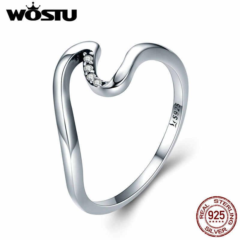 WOSTU 100% 925 เงินสเตอร์ลิง WAVE แหวนนิ้วมือหมั้นแต่งงาน PARTY เงินสเตอร์ลิงเครื่องประดับของขวัญ CQR378
