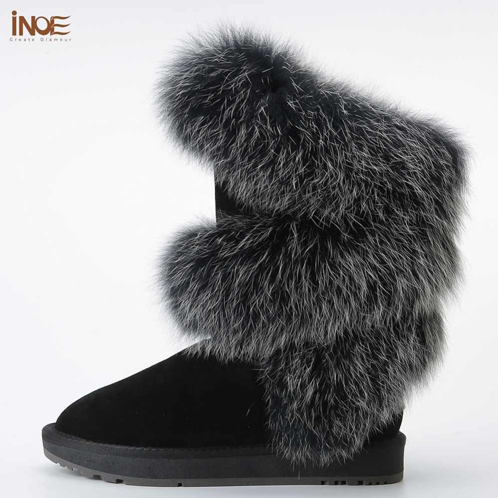 INOE сапоги женские зимние модный стиль натуральный лисий мех коровья кожа женская высокая зимняя обувь на плоской подошве зимние сапоги коровья замша зимняя обувь черный серый высокое качество ботильоны ботинки