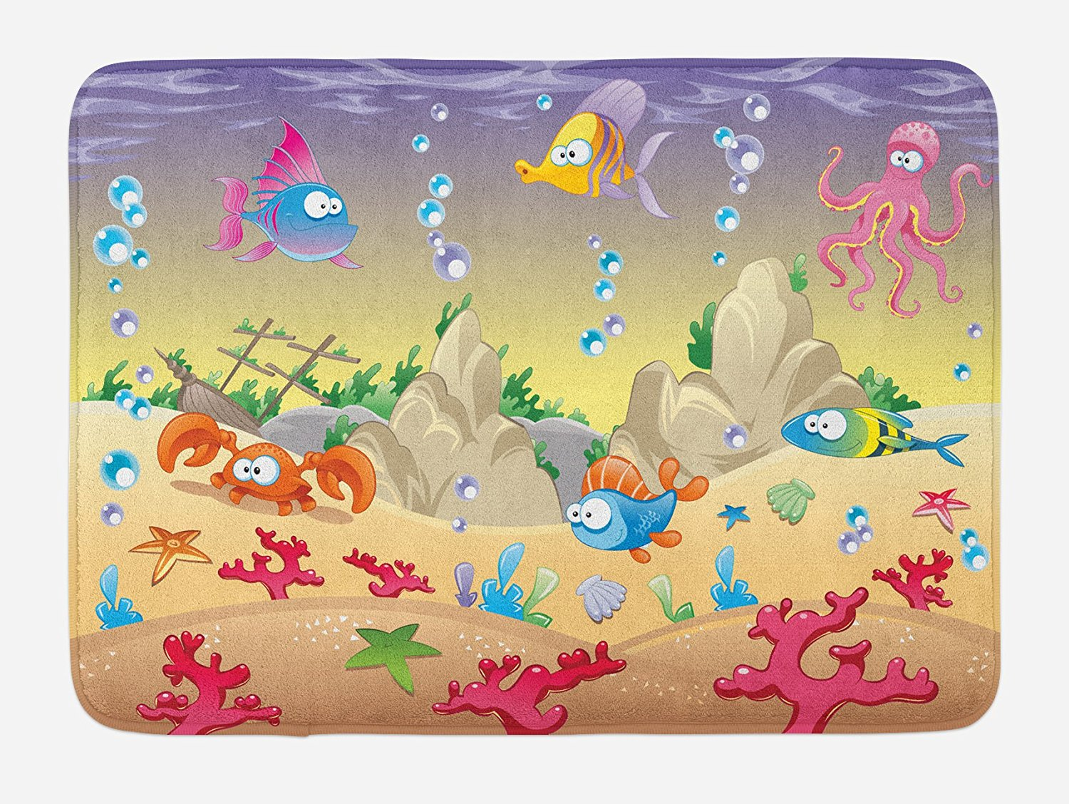 underwater bath mat kids cartoon design funny sea animals fishes