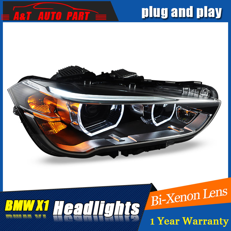 Auto Lighting Style LED Head Lamp for BMW X1 headlights 2016 for X1 LED angle eyes drl H7 hid  Bi-Xenon Lens low beam auto clud style led head lamp for benz w163 ml320 ml280 ml350 ml430 led headlights signal led drl hid bi xenon lens low beam