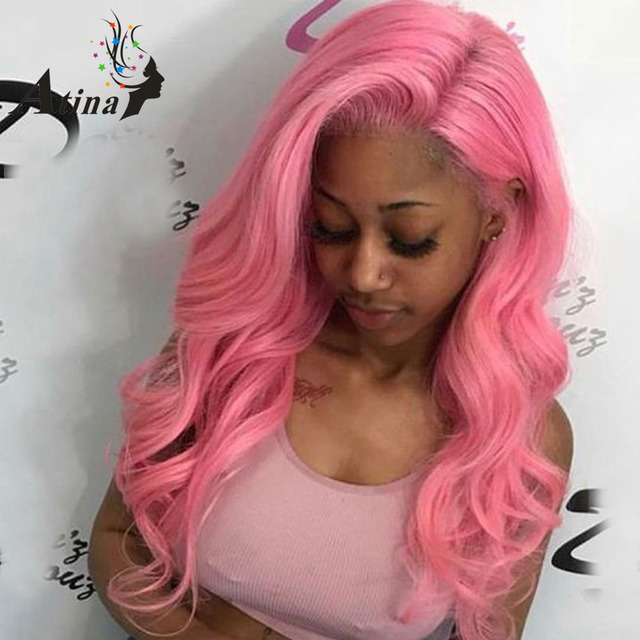 150% Density Pink Full Lace Wig Human Hair With Baby Hair Wavy Preplucked  Full Lace Virgin Remy Hair Wig For Black Women Colored 03eade9b79