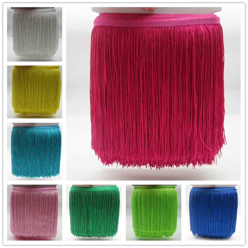 YY-tesco 2 Meters Polyester Lace Tassel Fringe Lace Trim Ribbon Sew Latin Dress Stage Garment Curtain Accessories 20cm Width