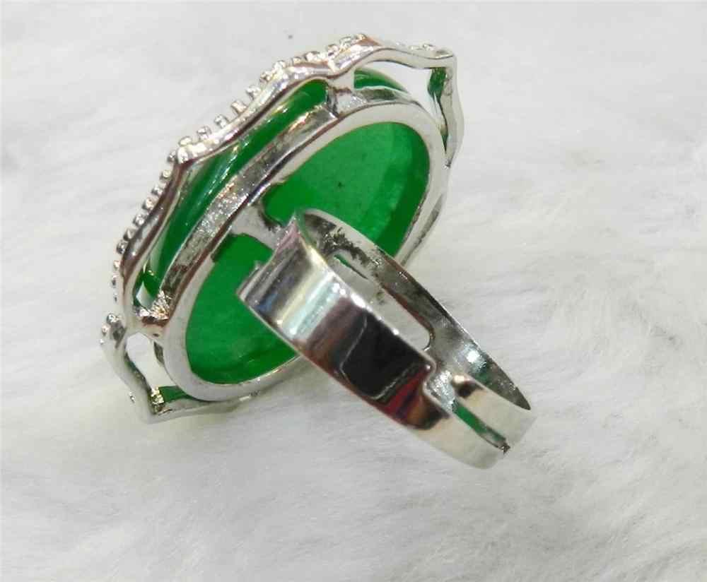ใหม่ธรรมชาติที่มีเสน่ห์หยกสีเขียวอัญมณีสร้อยคอแหวนต่างหูชุดเครื่องประดับ