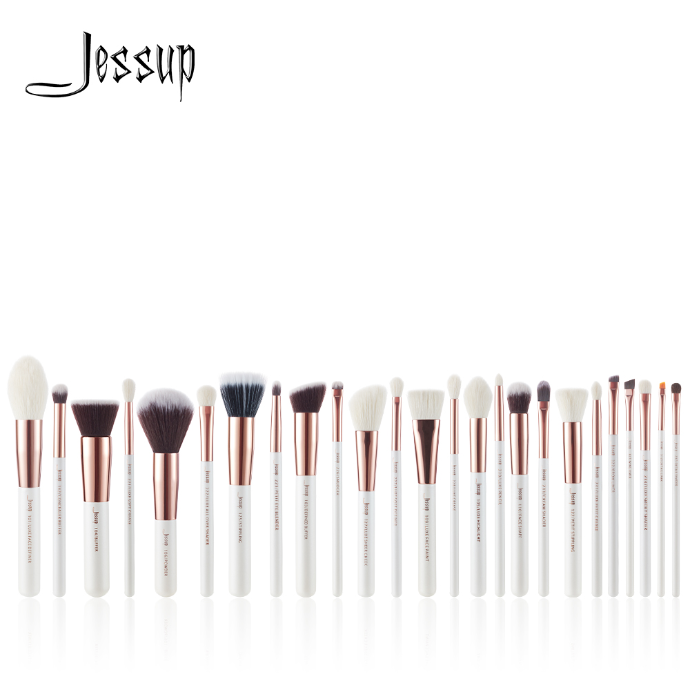 Jessup 6pcs/8pcs/10pcs/15pcs/20pcs/25pcs Pearl White/Rose Gold Makeup brushes set Beauty Make up brush Foundation Powder Blushes jessup brushes 10pcs rose gold black face makeup brushes set beauty cosmetic make up brush contour powder blush