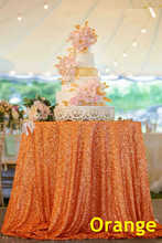B·Y 50inch-125cm Round Sequin Tablecloth Orange Table Cover for Christmas Party Wedding decor-9525