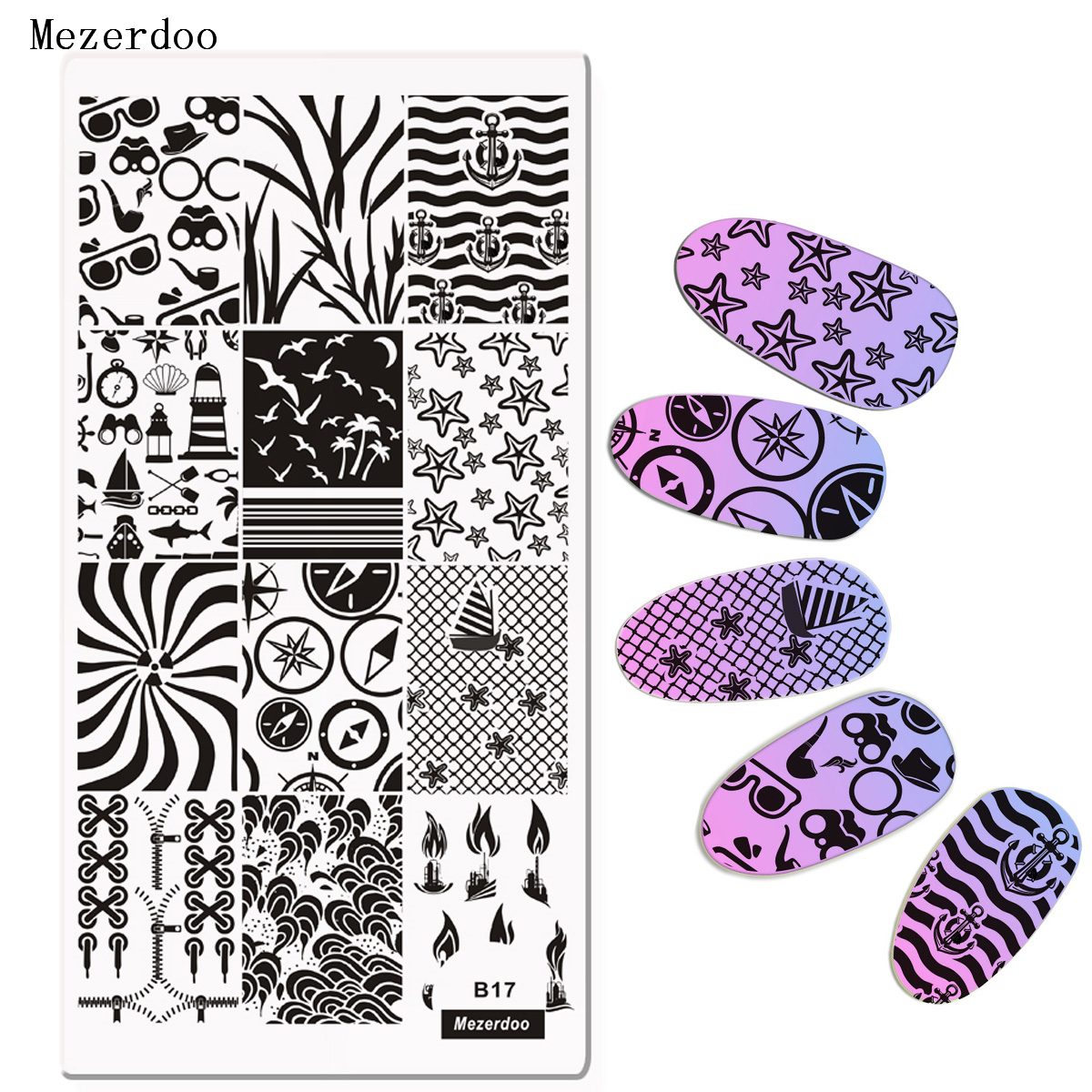 Nail Art Geometry Wave Anchor Stamping Template Nail Art Stamp Image Plate Sexy Girls Sunglasses Waves Design Manicure Nail Plates C27