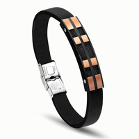 Fashion Silk Channel Setting Bracelet Stainless Steel Geometric Charm Leather Men Bracelets Bangles Jewelry