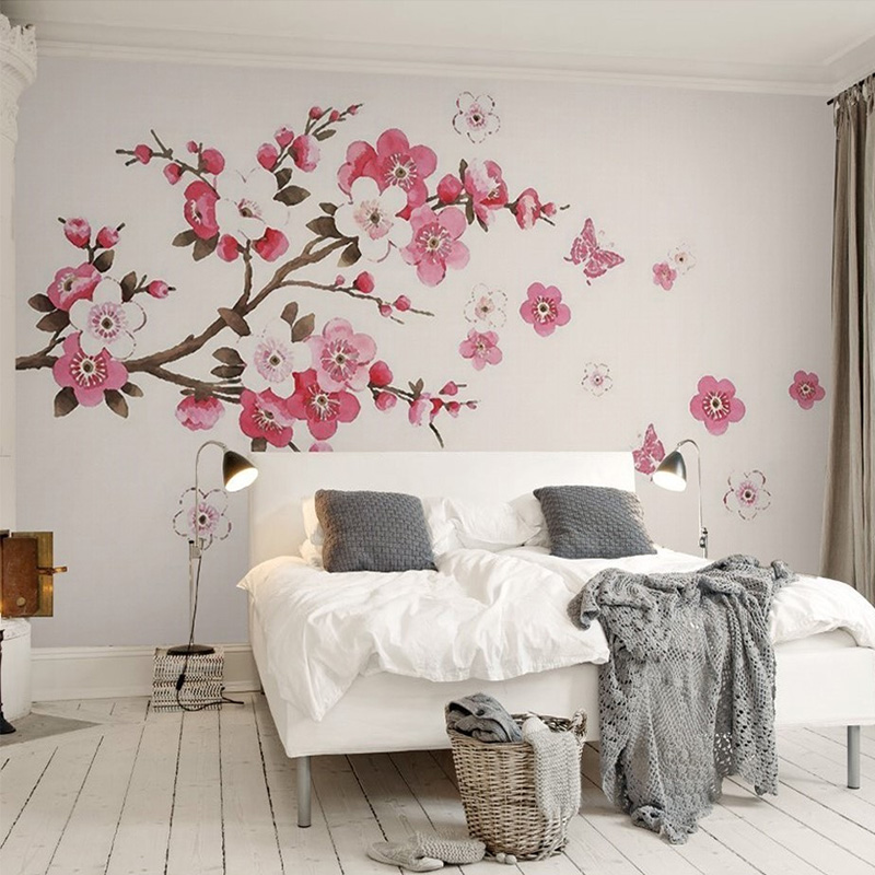 3D Stereo Wallpaper Hand Painted Simple Tree Abstract Bark Branch Color Plum Butterfly Bedroom TV Background Modern Wallpaper 3D abstract heart shape tree birds color drawing pattern linen pillowcase