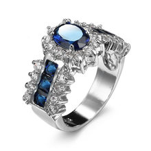 Blue Stone Emerald Ring 925 Sterling Silver Ring Blue Crystal Ring with Imitation Gemstone Anniversary Jewelry For Women(China)