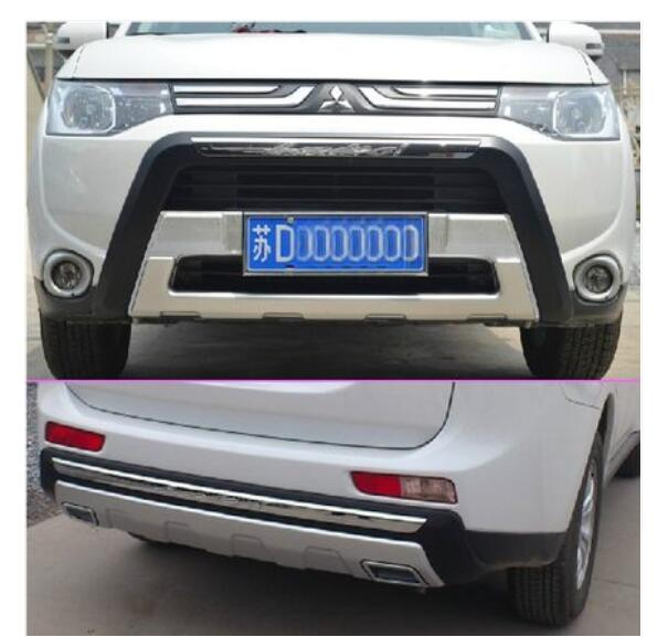 ABS Chrome Front + Rear Bumper Skid Protector Guard Plate For Mitsubishi Outlander 2013 2014 high end 2pcs front or back bumper cover stickers protector guard 3d streamline for mitsubishi asx bumper strip