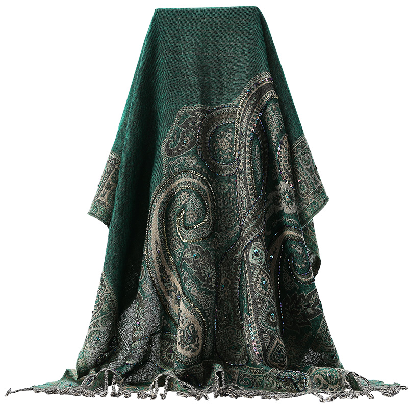 National Chinese Women Shawl Mujer Bufanda Cape GREEN Handmade Embroidery   Wrap     Scarf   Pashmin Vintage Nail Beads   Scarves     Wrap