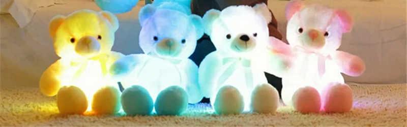 Светящиеся рождественские игрушки, плюшевая Светодиодная лампа Подушка, цветной плюшевый мишка, мягкие животные для детей, подарок на день рождения для девочек