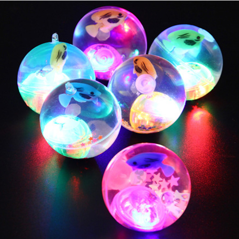 5.5cm Flashing Luminous Ball Rubber Bouncing Ball Toy Poprygunchik Ball Antistress Light LED Jumping Ball Game Toys for Children