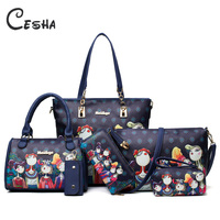 6pcs/lot Women Handbags Shoulder Bags Set Female Leather PU Composite Bag High Quality Super Practical Women Bag 2018 Sac a main