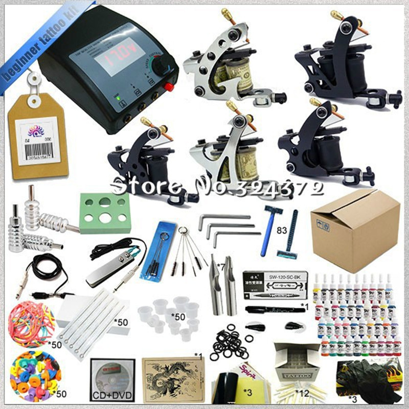 Professional Glitter Tattoo Kit 5 Guns Complete Machine Equipment sets +Teaching CD+Ink for Beginners Body Art Beauty Tools 2016 high quality 2 gun rotary tattoo kit glitter complete machine equipment sets ink piercing tools for beginners body art t