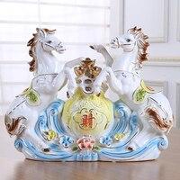 Современная керамика лошадь ручной работы пони фигурка конь фарфоровая статуя лошадь гостиная офисные украшения ремесло орнамент подарок