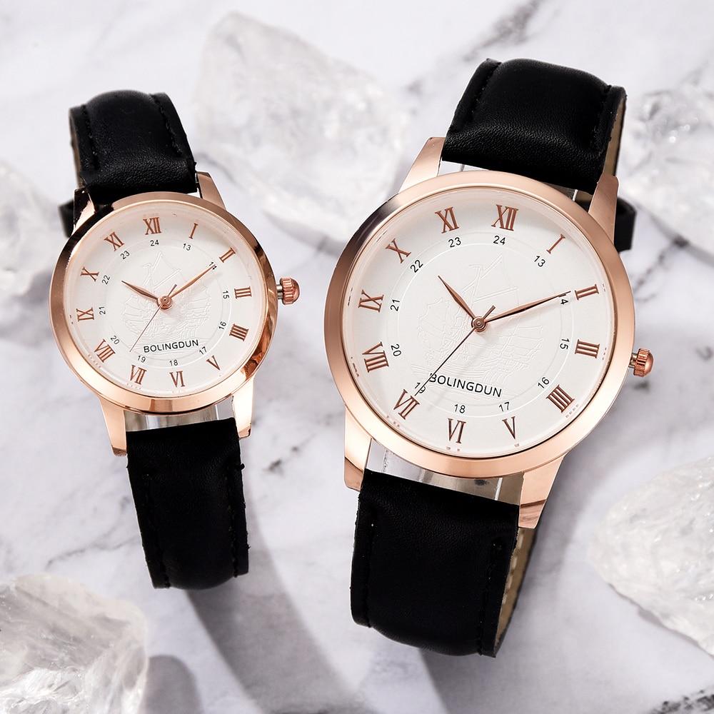 Woman Mens Retro Design Leather Band Analog Quartz Wrist Watch 2019 New Arrival Ladies Casual Bracelet Couple Watches Set